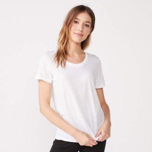 Monrow Solid White Relaxed Crew Neck Tee Shirt Top